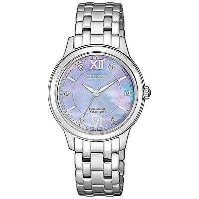 CITIZEN 光動能晶鑽鈦金時尚手錶 EM0720-85Y-珍珠貝X銀/30mm