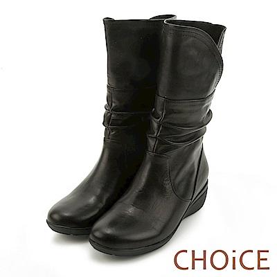 CHOiCE 樂活休閒 2WAY皺摺真皮領輕量中筒靴-黑色
