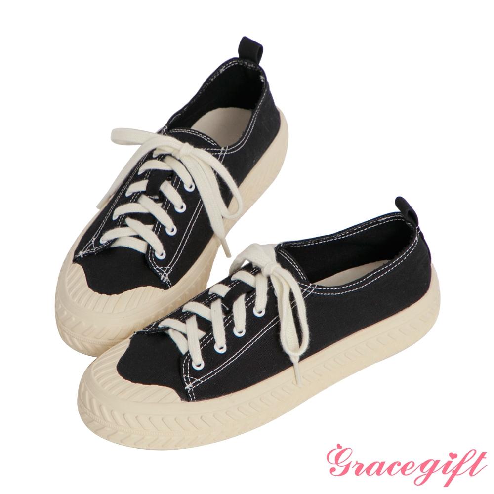 Grace gift-素面帆布休閒餅乾鞋 黑他料