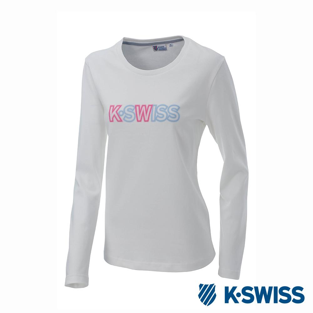 K-SWISS Long Sleeve T-Shirts印花長袖T恤-女-白