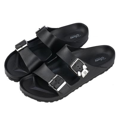 迪士尼親子鞋  米奇  男段雙釦涼拖鞋-黑