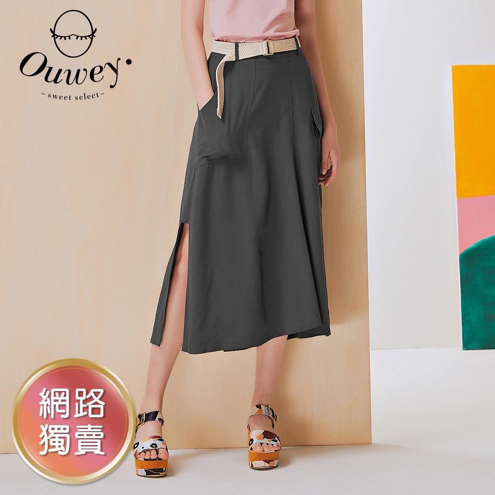 OUWEY歐薇 小心機側開衩造型口袋A字裙(鐵灰/卡其)3212172304