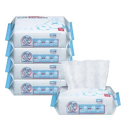 【Baan 貝恩】純棉乾濕兩用巾 100抽x5入