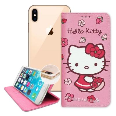 三麗鷗授權 Hello Kitty iPhone Xs Max 櫻花吊繩款彩繪側掀皮套