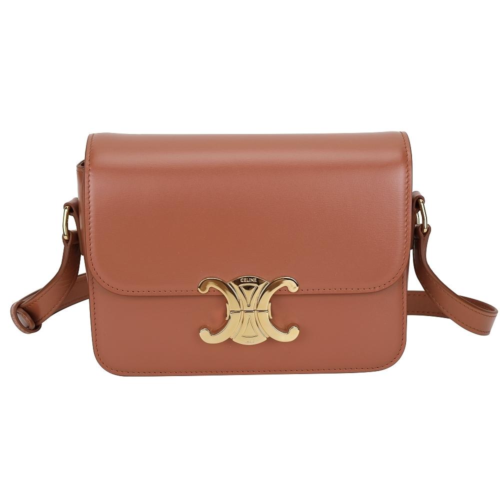 CELINE Triomphe 小型 黃銅凱旋門鎖釦小牛皮肩背包(赤褐色)