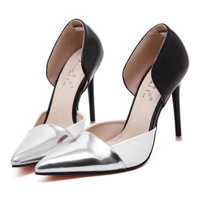 KEITH-WILL時尚鞋館 韓系性感拼色尖頭高跟鞋-銀色