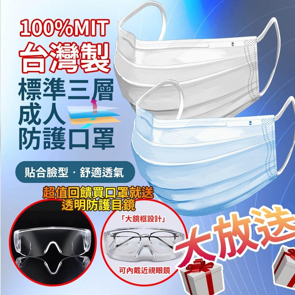 台灣製造MIT透氣版標準三層成人防護口罩-50入-贈透明護目鏡