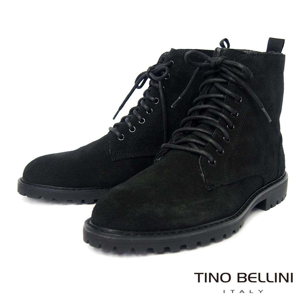 TINO BELLINI 男款牛麂皮內裡絨毛綁帶中筒黑靴