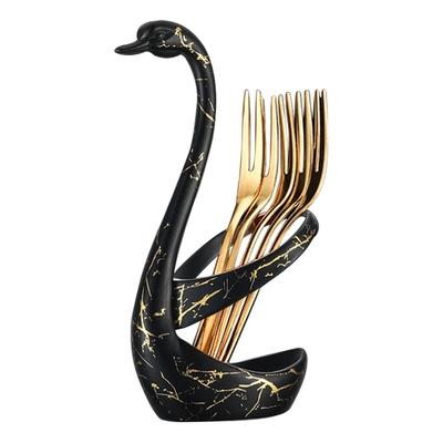 創意 不鏽鋼 天鵝座 造型桌面叉子餐具套組 黑色款