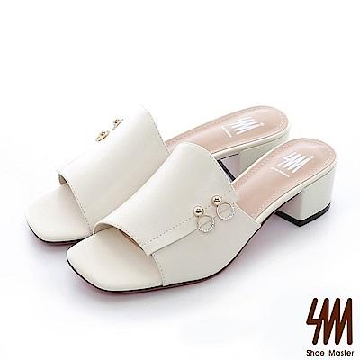 【SM】復古時尚系列--歐美時尚簡約英倫風方頭中低楔型拖鞋(2色)