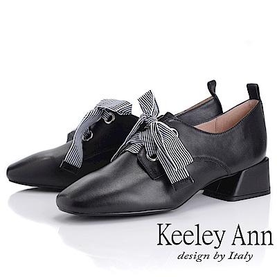 Keeley Ann慵懶盛夏 復古蝴蝶結小方頭包鞋(黑色)