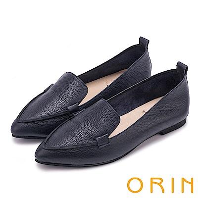 ORIN 優雅品味 柔軟牛皮素面尖頭樂福鞋-深藍