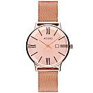 ADEXE 英國時尚手錶 Meek日期顯示系列 玫瑰金錶盤x玫瑰金錶框米蘭錶帶33mm