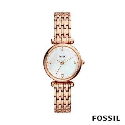 FOSSIL Carlie Mini 迷你奢華女性鍊錶-玫瑰金