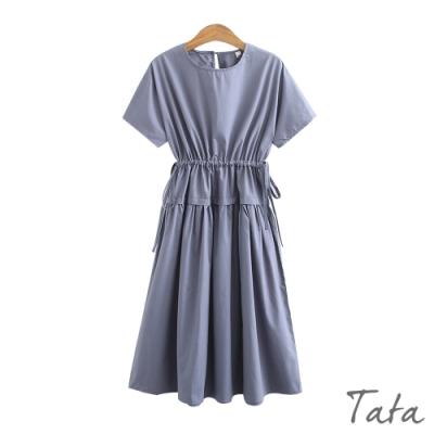 腰部拼接鬆緊繫帶短袖洋裝 TATA-(L/XL)