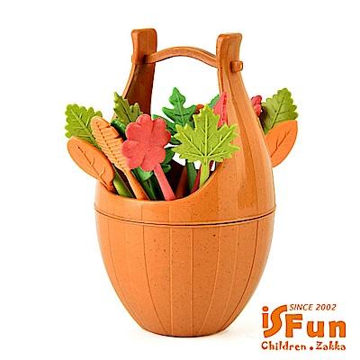 iSFun 野餐木桶 麥纖維甜點水果叉子(隨機色)