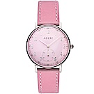 ADEXE 英國時尚手錶 Freerunner單眼系列 粉錶盤x銀錶框皮革錶帶32.5mm