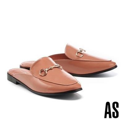 穆勒鞋 AS 復刻經典時尚馬銜釦牛皮低跟穆勒拖鞋-橘