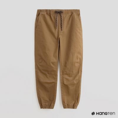 Hang Ten - 男裝 - 素面抽繩寬版休閒長褲 - 卡其
