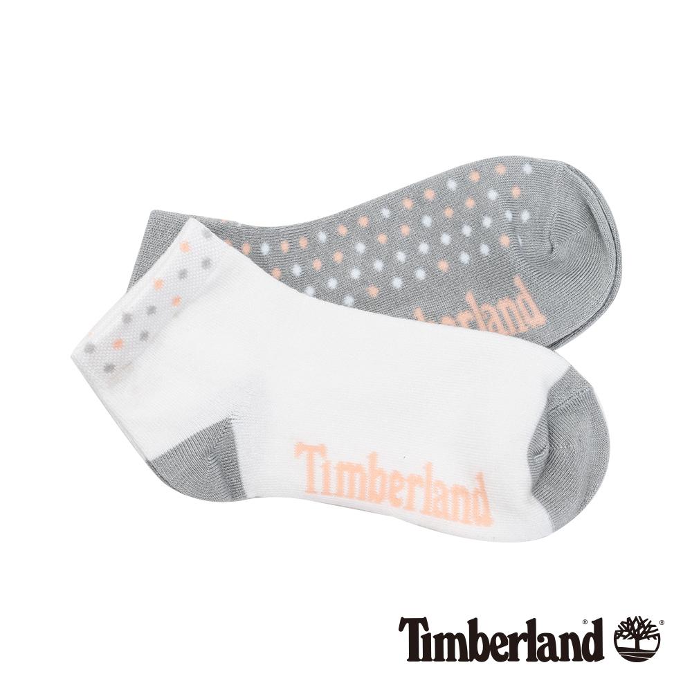 Timberland 女款灰白粉撞色圓點素面兩件組短筒襪|A1ENK