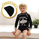 美國 PANDOO 美寶 貼身彈性長袖兒童防曬衣游泳衣_曜石黑