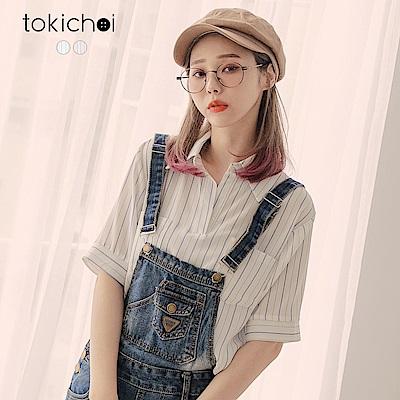東京著衣 文青女孩條紋口袋短袖襯衫(共二色)