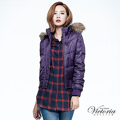 Victoria 短版印紋絲棉外套-女-紫色