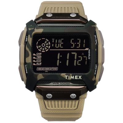 TIMEX 天美時 迷彩 遠征系列 極限運動  電子顯示 橡膠手錶-軍綠x卡其/54mm
