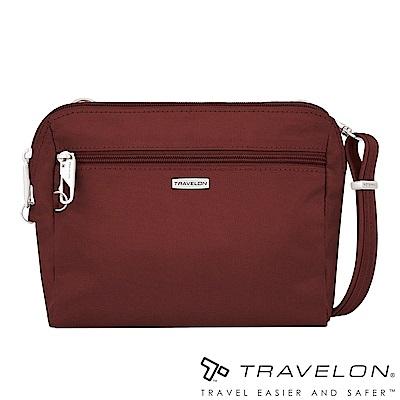 Travelon美國防盜包 經典防割鋼網休閒斜背包/腰包兩用TL-43227酒紅18
