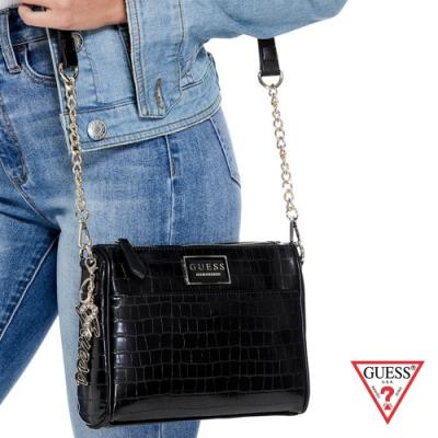 GUESS-女包-漆皮壓紋鍊條方包-黑