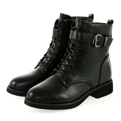 JMS-韓風率性繫帶扣環裝飾綁帶低跟短靴-黑色