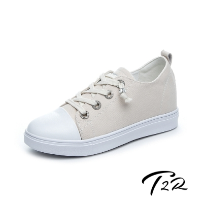 T2R-正韓空運-增高鞋真皮鞋帆布鞋小白鞋-增高6公分-帆布米