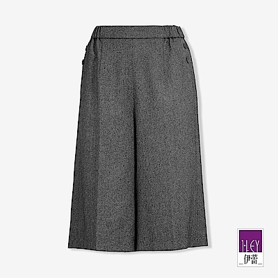 ILEY伊蕾 鈕釦裝飾五分寬褲(黑/鐵灰)