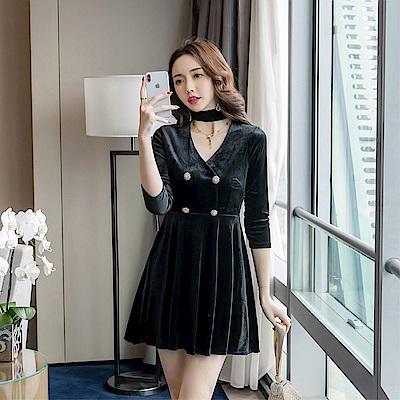 DABI 韓版絲絨掛脖氣質大擺修身復古長袖洋裝