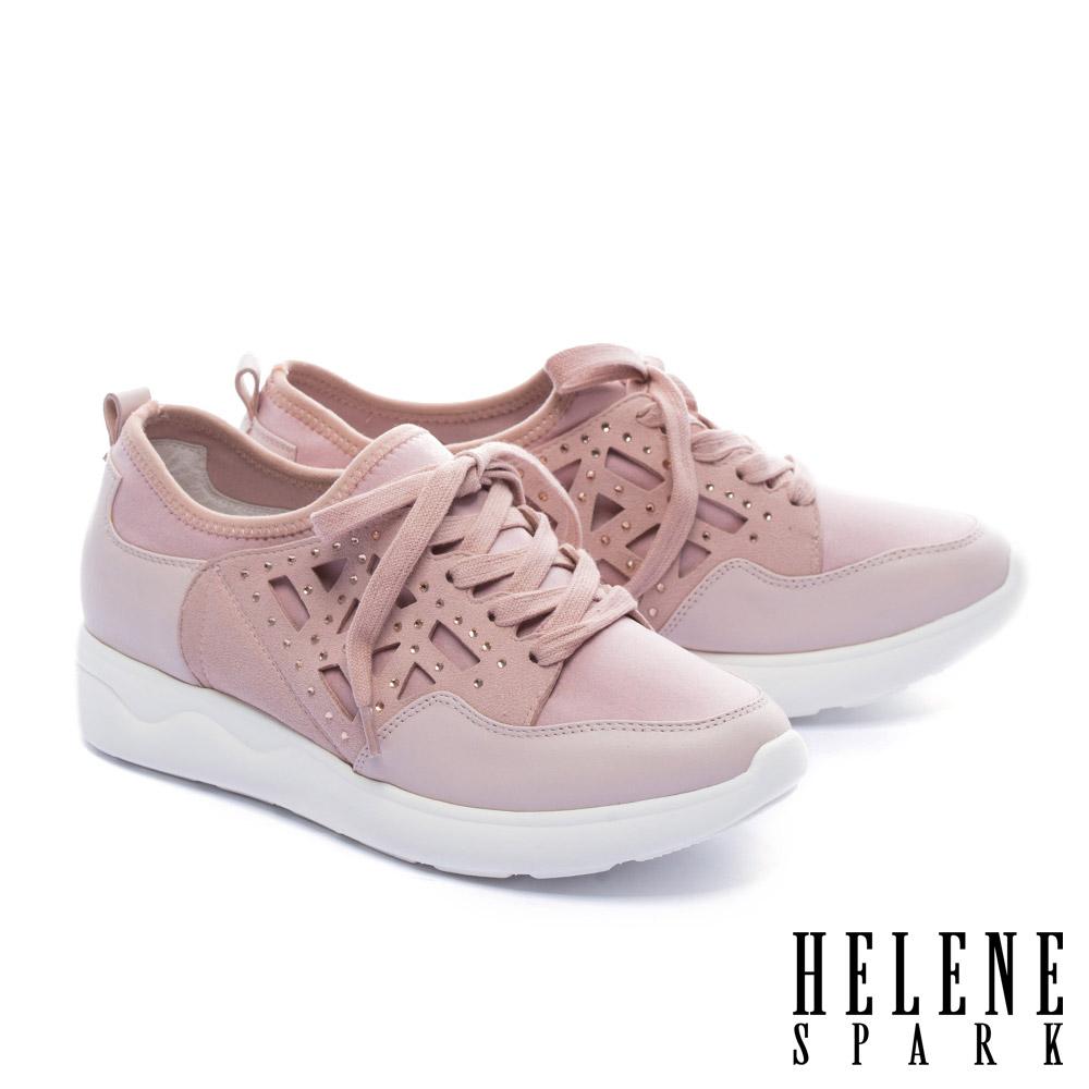 休閒鞋 HELENE SPARK 異材質拼接純色綁帶厚底休閒鞋-粉
