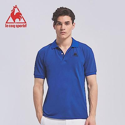 le coq sportif 法國公雞牌素面胸前小LOGO吸排POLO衫 男-寶藍