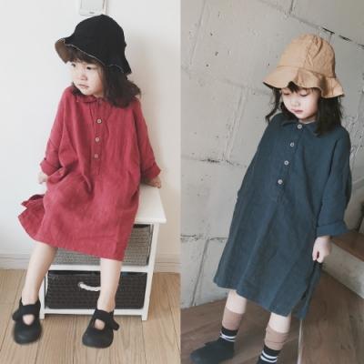 小衣衫童裝 女童韓版文藝感寬鬆長袖長版襯衫裙1080903