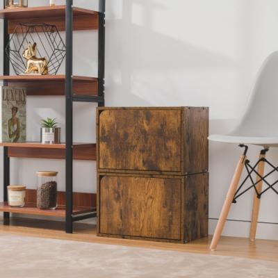 樂嫚妮 收納櫃/置物櫃/門櫃-2入組-仿木色