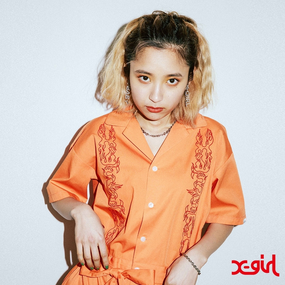 X-girl 1OPEN COLLAR EMBROIDERY連身褲-橘
