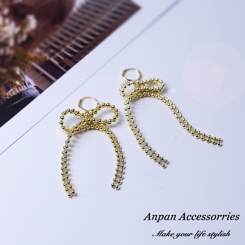 【Anpan 愛扮】韓東大門超個性金屬編織長蝴蝶結耳釘式耳環
