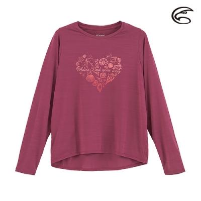 ADISI 女輕薄棉感圖騰圓領長袖排汗衣AL2011109 (S-XL) 寶石紫