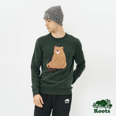 ROOTS 男裝- 森林動物刷毛圓領上衣-綠