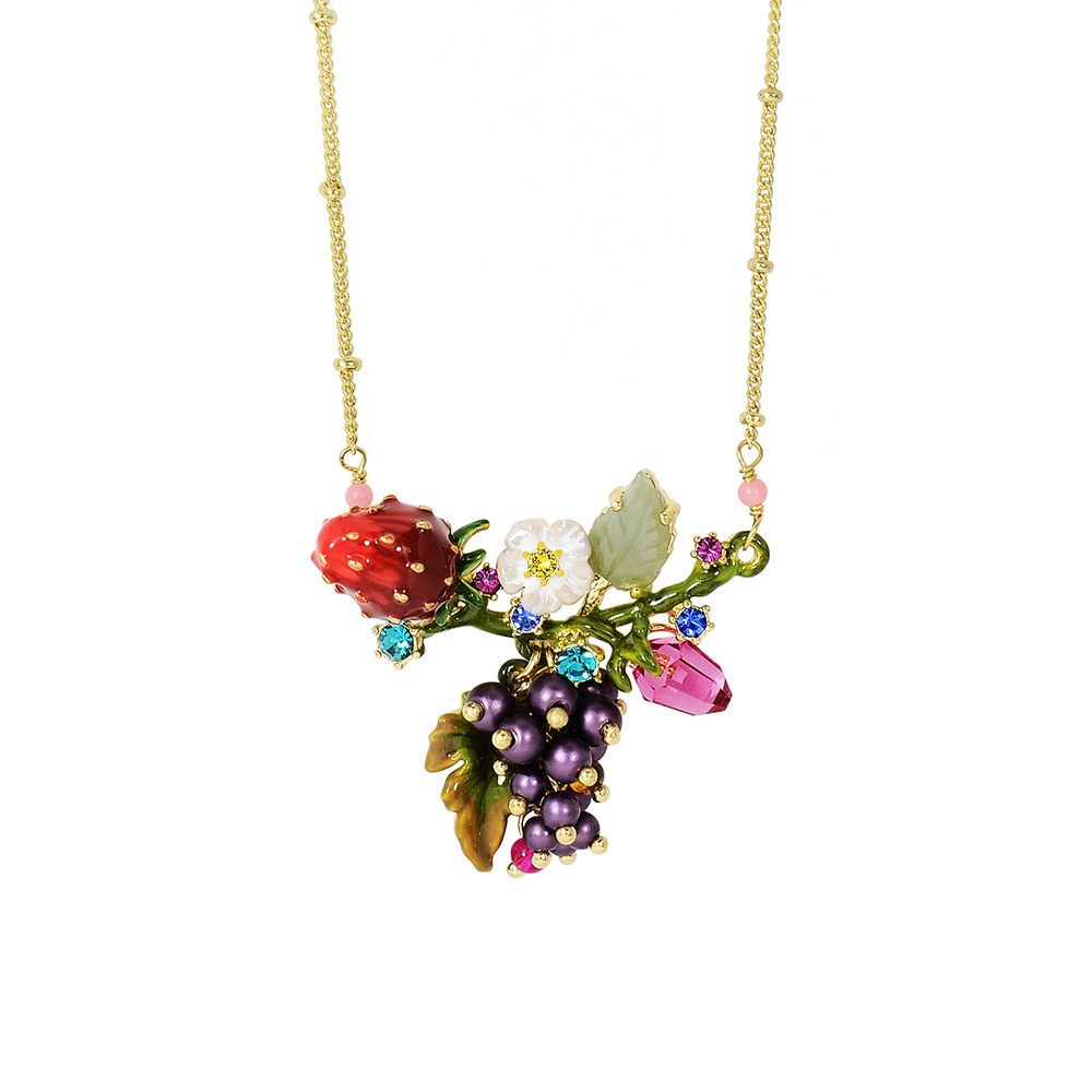 Les Nereides 花卉系列 鮮甜草莓葡萄鑲鑽寶石項鍊