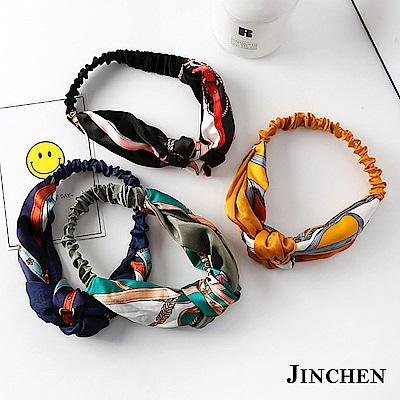 JINCHEN 韓系雙色拼接交叉髮帶