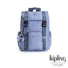 Kipling 溫柔粉藍雙釦掀蓋後背包-ADAVEN