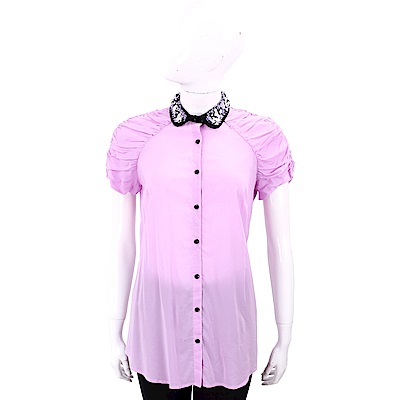 CLASS roberto cavalli 珠花飾領粉紫色皺褶拼接襯衫