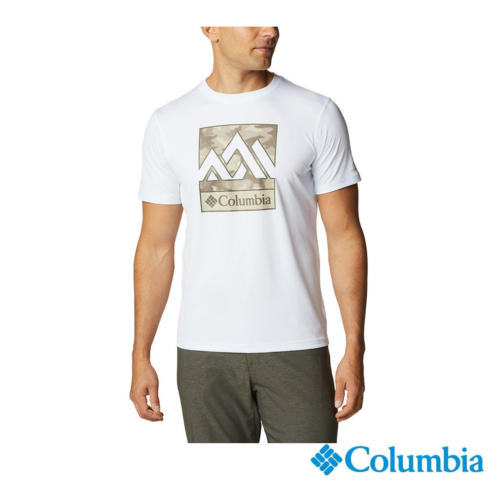 Columbia 哥倫比亞 男款- UPF30涼感快排LOGO短袖上衣- 活動款 UAE64630 (白色)