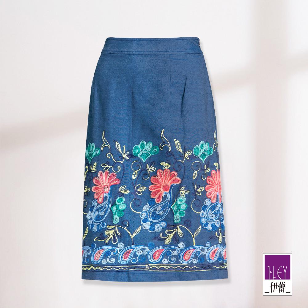 ILEY伊蕾 花朵圖騰刺繡A字牛仔裙(藍)