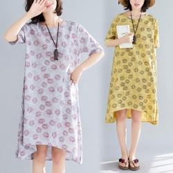 透氣寬鬆清爽粉嫩印花洋裝L-XL(共三色)Keer