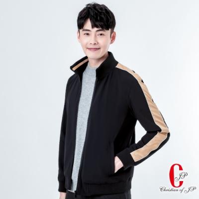 Christian  動感型男立領運動夾克_黑(KW803-88)